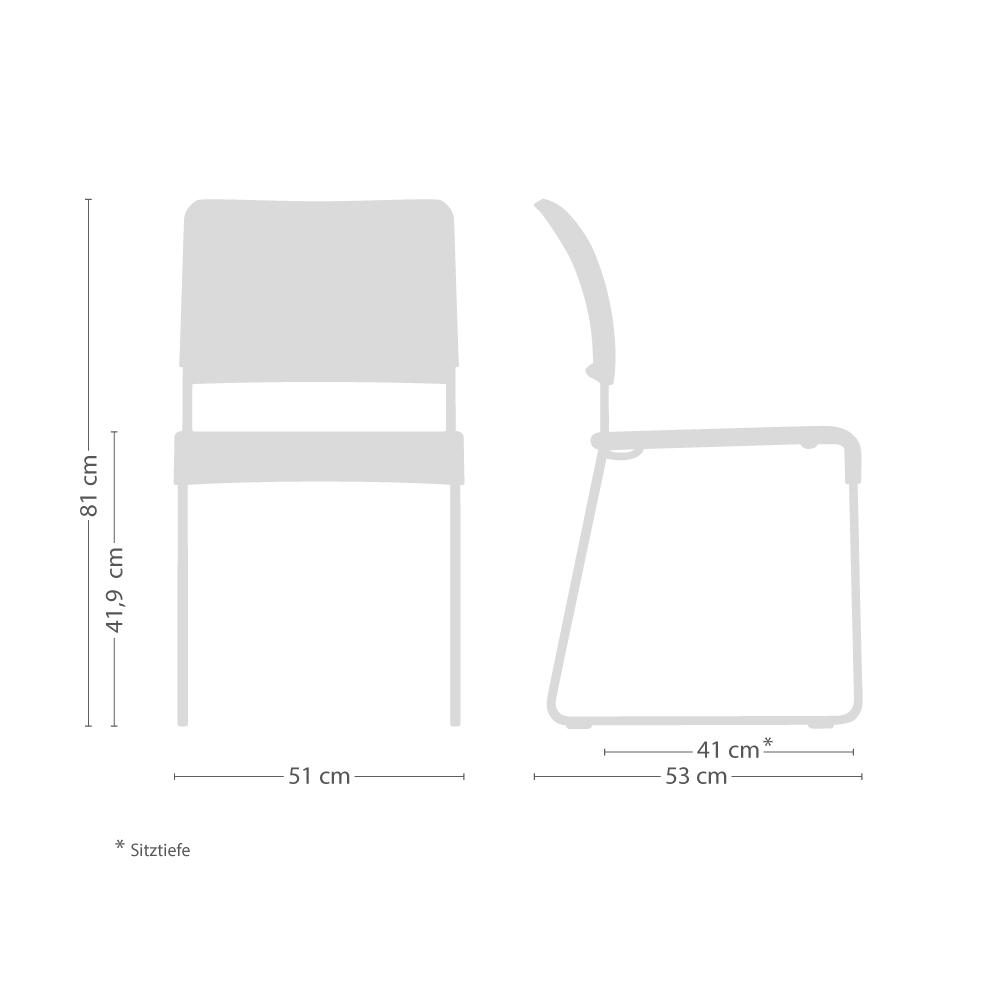 SIM Stapelstuhl mit Kunststoffgleitern