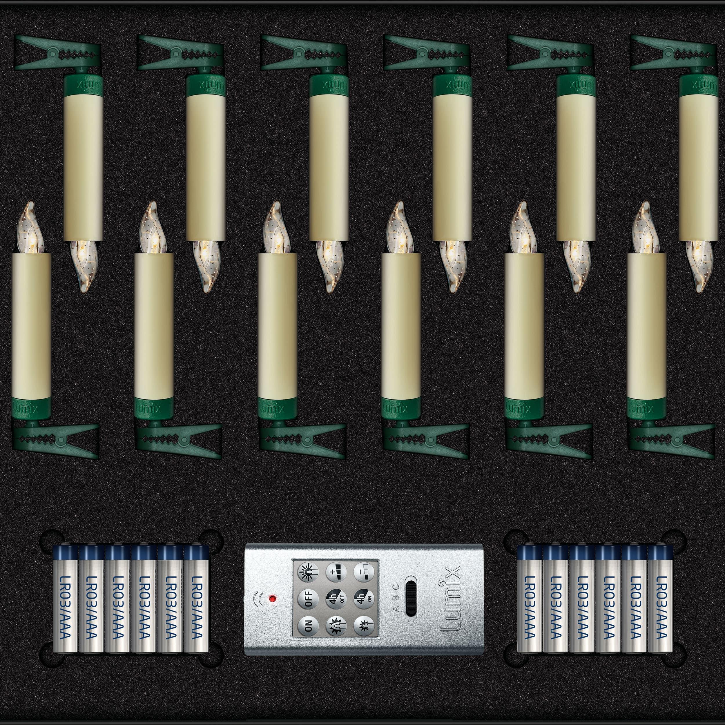 Lumix SuperLight Mini Kabellose Christbaumkerzen 12er Basis-Set