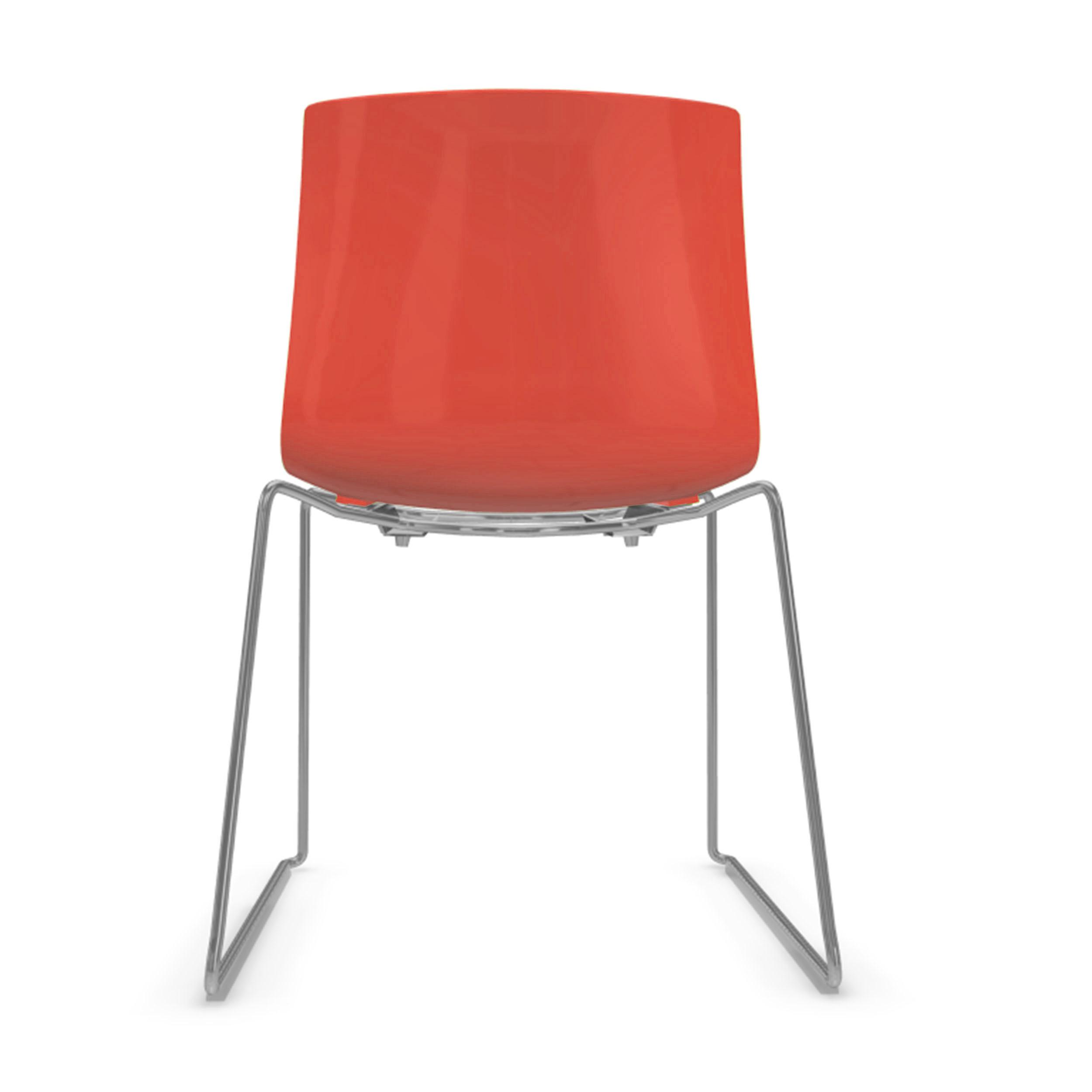 Catifa 46 Stuhl einfarbig mit verchromten Kufen