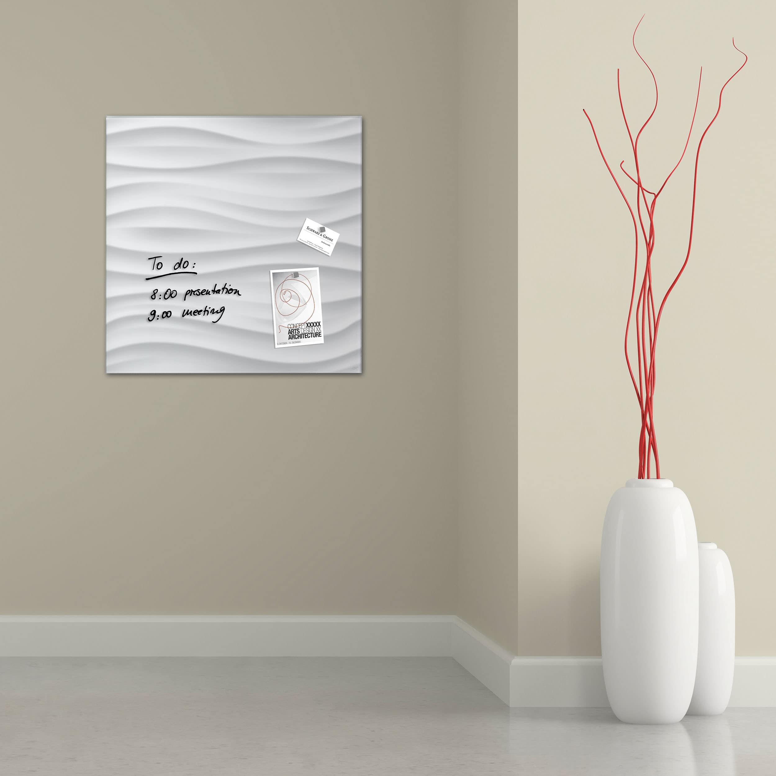 artverum® Glas-Magnetboard White Wave