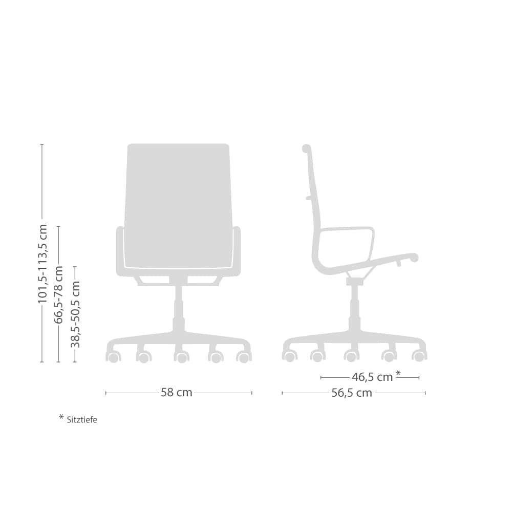 Aluminium Group EA 119 Leder Drehstuhl mit weichen Rollen
