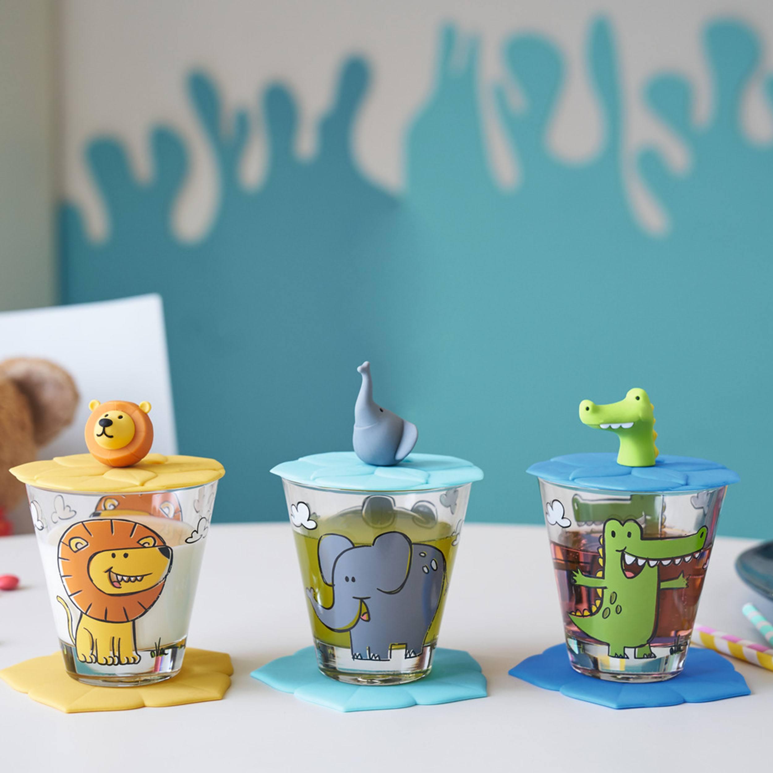Bambini Kinderbecher mit Deckel und Untersetzer Löwe Krokodil Elefant 3er-Set