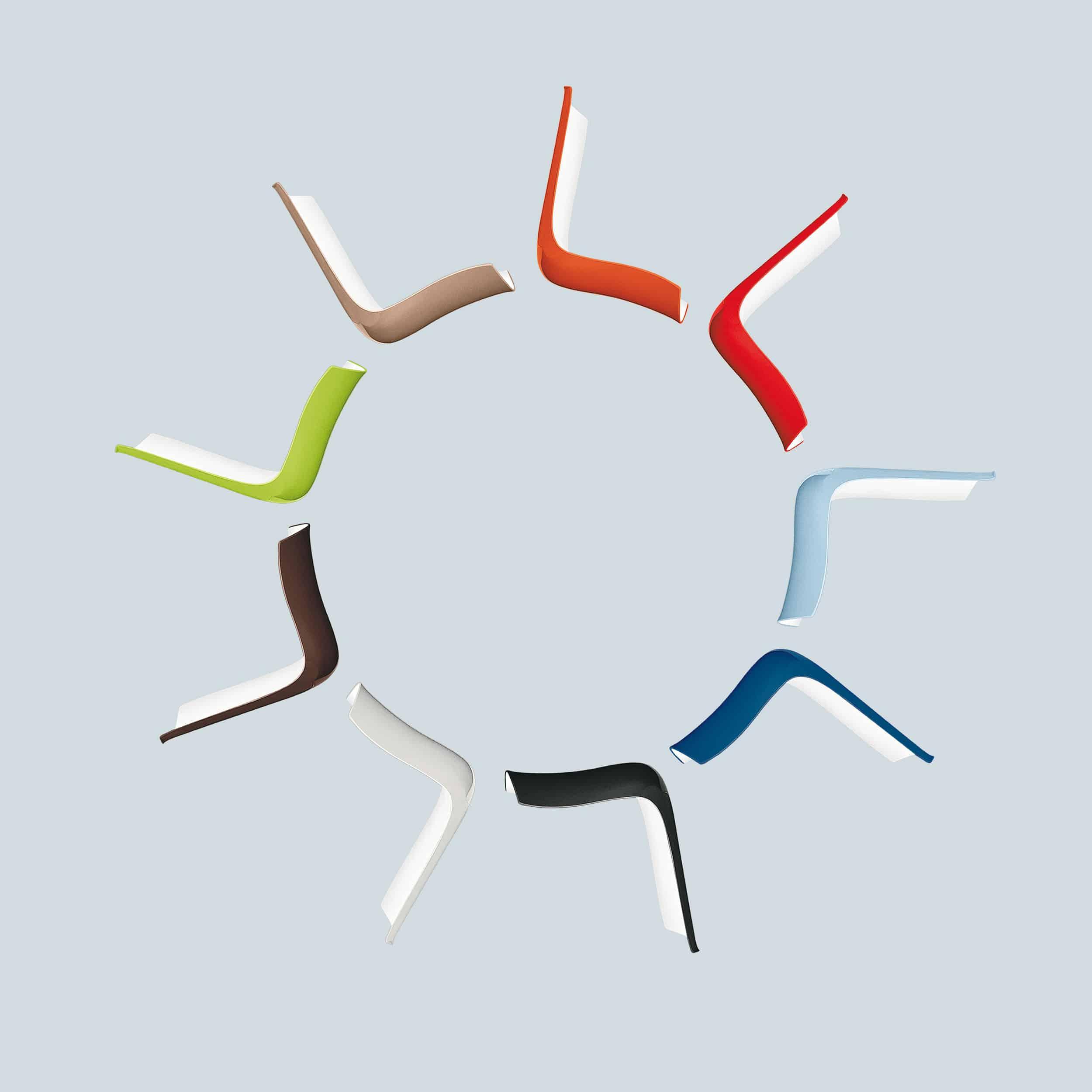 Catifa 46 Stuhl zweifarbig mit farbigen Kufen