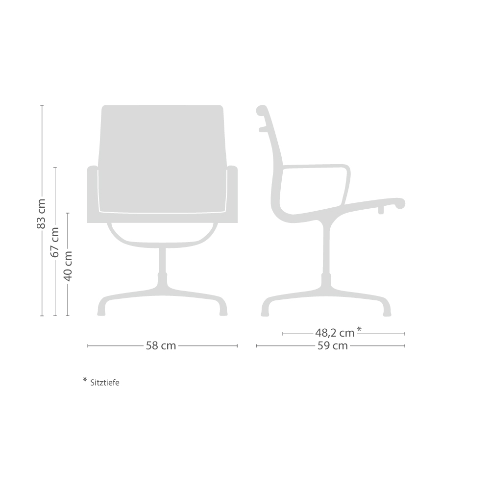 Aluminium Group EA 108 Stoff Stuhl mit Filzgleitern