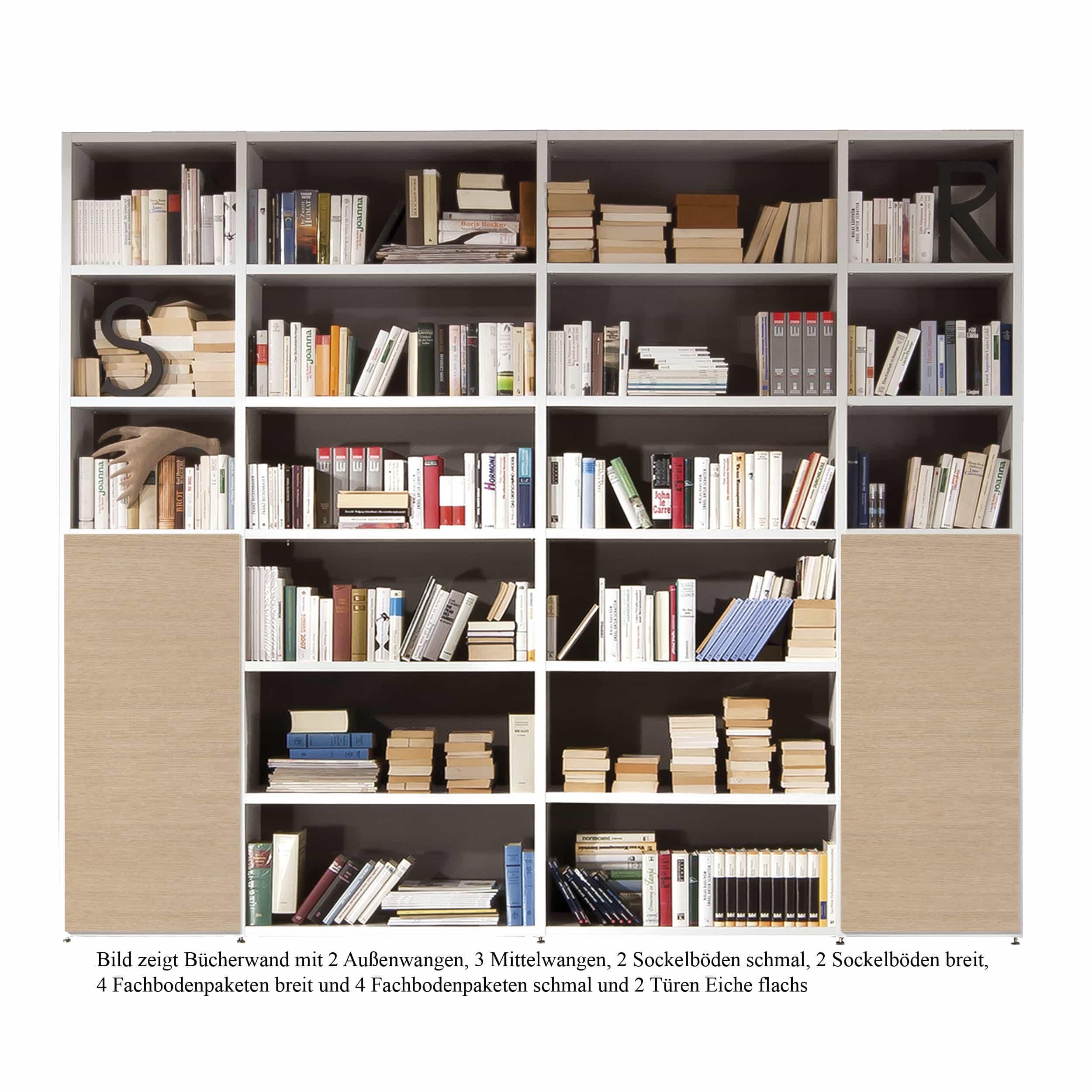 Bücherwand 2.1 Fachboden breit 3er-Set