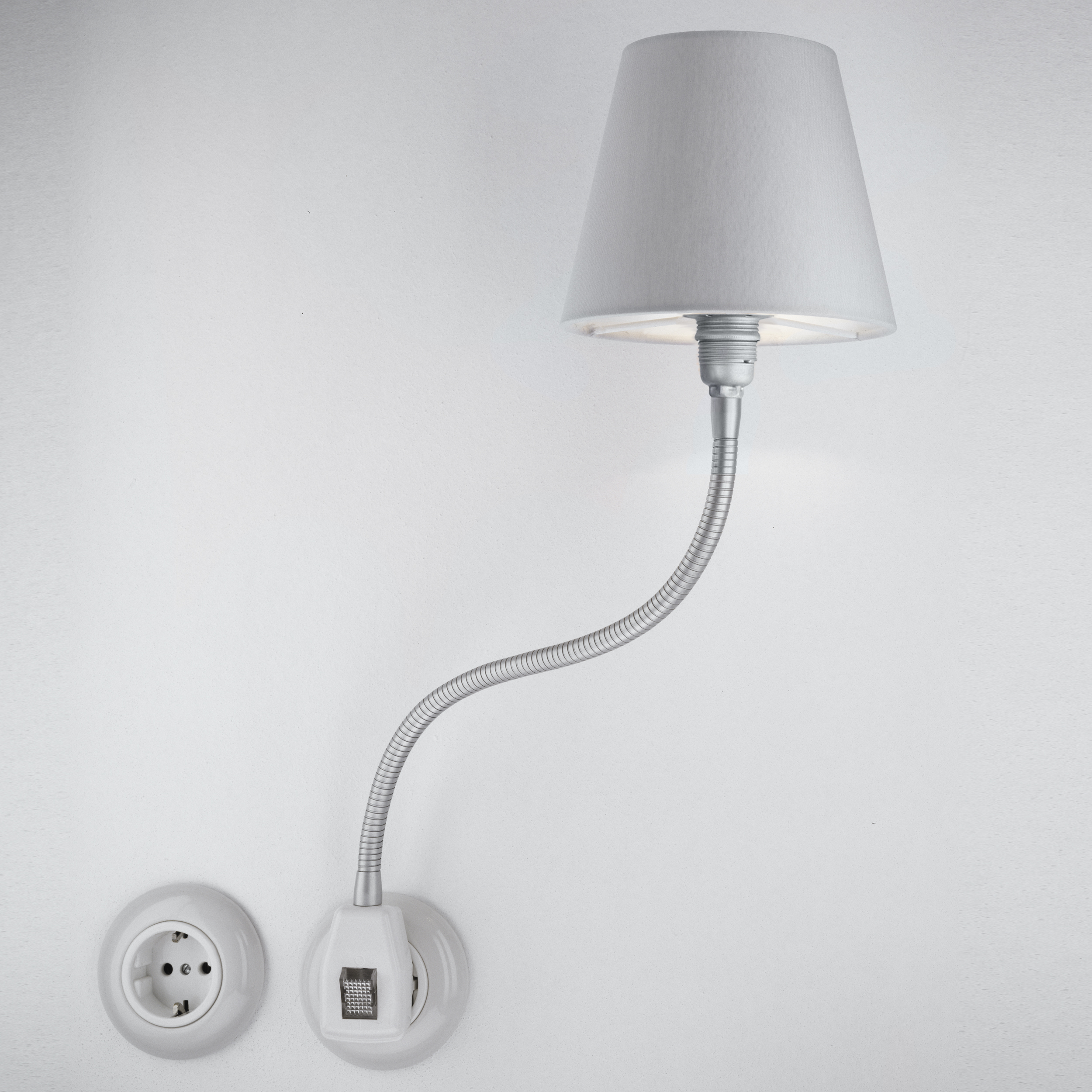 Glühwürmchen Metallikus LED m. glattem Textilschirm