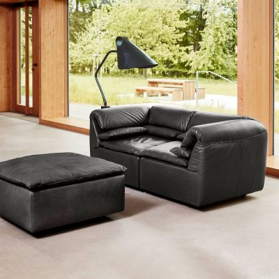 Elements Leder Sofa 2-Sitzer mit Hocker