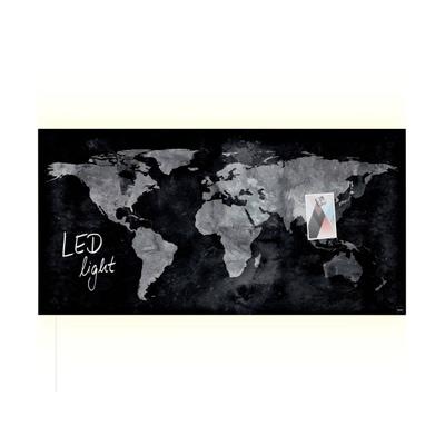 artverum® LED Glas-Magnetboard World Map
