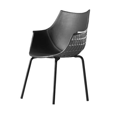 Meridiana Leder Stuhl mit 4 Metallbeinen