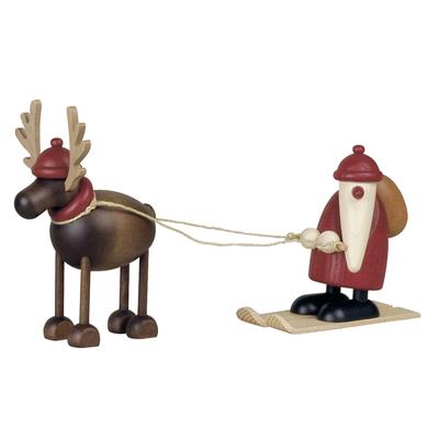 Rentier Rudolf mit Weihnachtsmann auf Ski Figur
