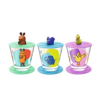 Bambini Kinderbecher mit Deckel und Untersetzer Maus Elefant Ente 3er-Set