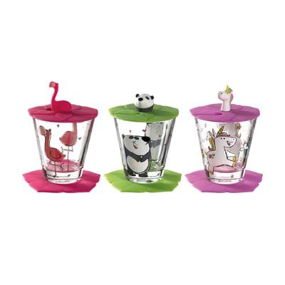 Bambini Kinderbecher mit Deckel und Untersetzer Flamingo Einhorn Panda 3er-Set