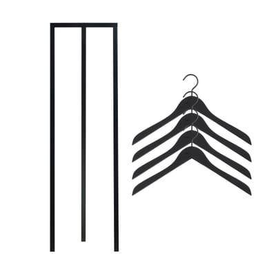 Loop Stand Hall Garderobe mit Soft Coat Kleiderbügel 4er-Set