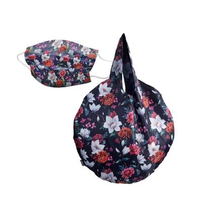 Maske Mundschutz mit Easy Bag Round XL Einkaufsbeutel