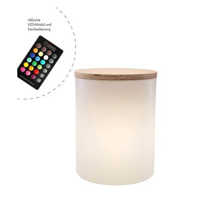 Shining Drum Outdoor LED Bodenleuchte und Beistelltisch mit Farbwechsler
