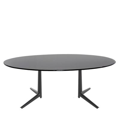 Multiplo Glas Tisch oval mit Kreuzfuß