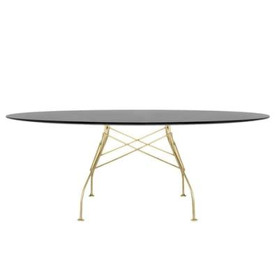 Glossy Tisch oval mit Glasplatte