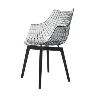Meridiana Stuhl mit 4 Holzbeinen